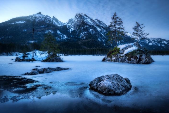 hintersee, see, wasser, gefroren, winter, fels, motiv, schnee, eis, watzmann, berchtesgaden, morgen, sonnenaufgang, baum, wald
