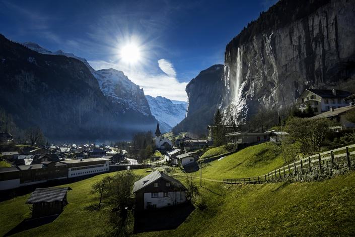 lauterbrunnen, grindelwald, berner oberland, schweiz, jungfrau, berge, alpen, dorf, tal, wasserfall, staubbachfall