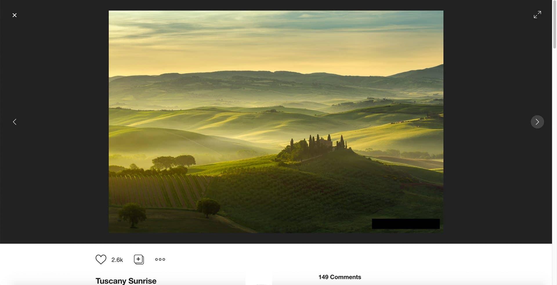 500px, Suchergebnisse, Bildauswahl, Bildansicht